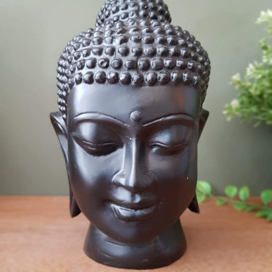 Antique & Plain Buddha Head Resin Statue Decor Sculpture