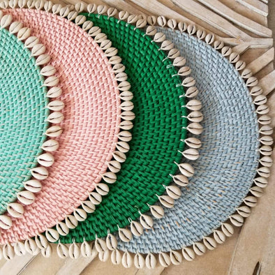 Colored Rattan Placemats With Cowrie Shells - Canggu & Co