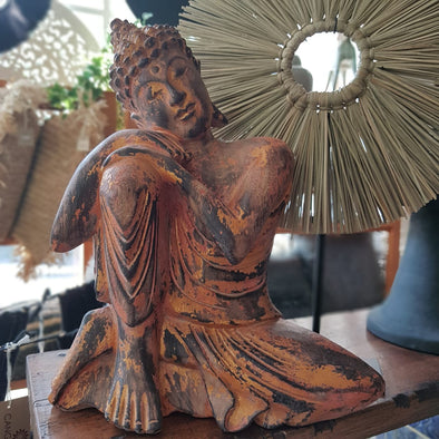 Antique Red & Gold Wooden Resting Buddha - Canggu & Co