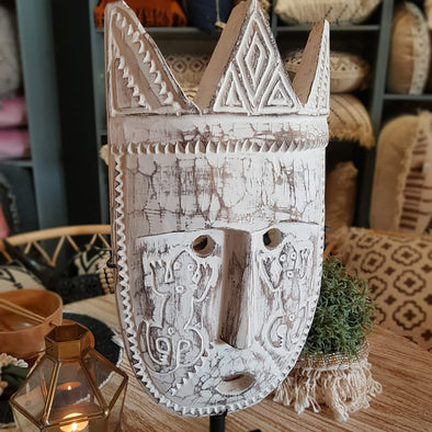 Tribal Motif Large Wooden Head Mask - Canggu & Co