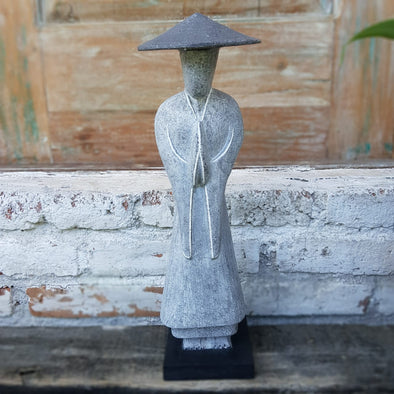 Japanese Grey & Yellow Standing Wooden Figures - Canggu & Co