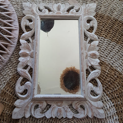 Whitewashed Carved Wooden Table Mirror