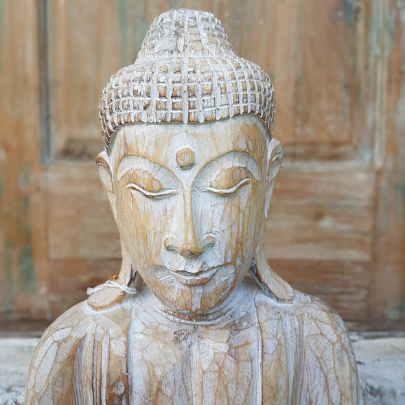 Whitewash Blessing Buddha Wooden Statue