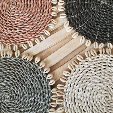 Medium Sized Multi-Colored Raffia Placemats With Cowrie Shells