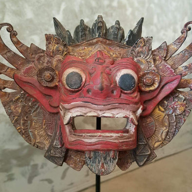 Antique Barong Wooden Head Mask Decor