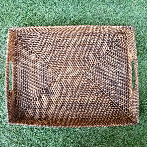 Large Brown Or Whitewash Rattan Trays With Handles - Canggu & Co