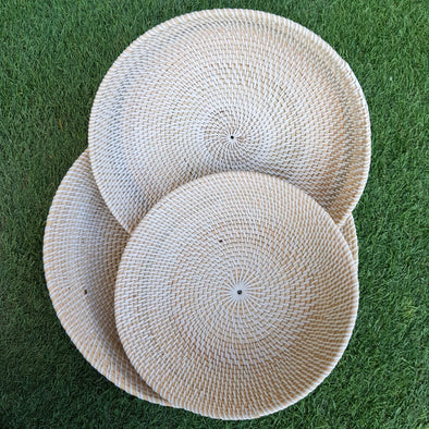Large White Rattan Bowl Sets