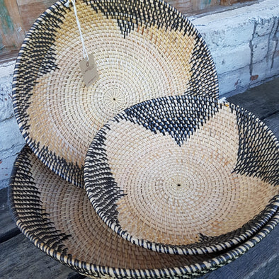Large Natural & Black Pattern Rattan Bowl Sets