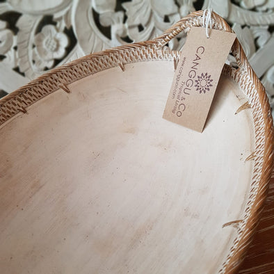 Medium Whitewashed Oval Wooden Bowl with Rattan Handles - Canggu & Co