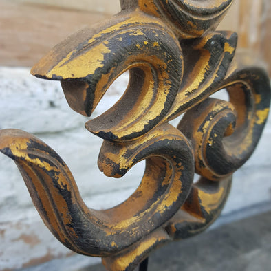 Antique Wooden Om Symbol With Stand - Canggu & Co