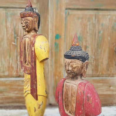 Antique Tall Standing Wooden Buddhas - Canggu & Co