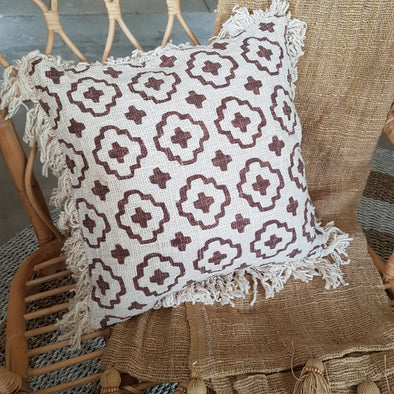 Brown Cross Pattern Motif Raw Cotton Cushions With Fringe - Canggu & Co