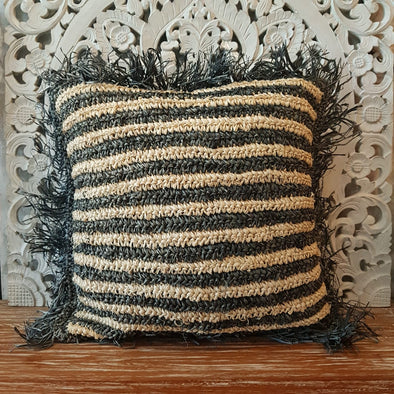 Black and Natural Square Woven Water Hyacinth Cushions - Canggu & Co