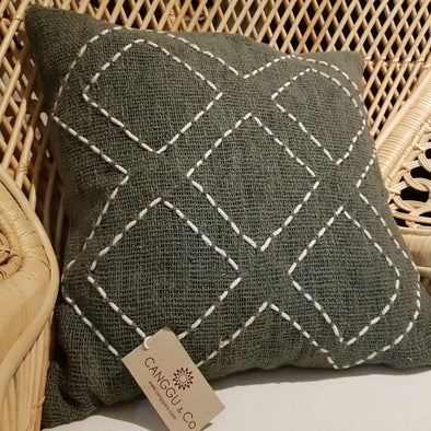 Dark Green Raw Cotton Cushion With White Diamond Pattern Stitches - Canggu & Co