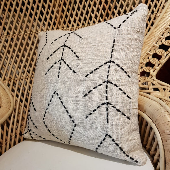 Line Stitch Motif Raw Cotton Cushion With Fringe