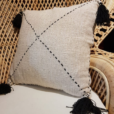 Black & White X Motif Cushion With Tassels - Canggu & Co