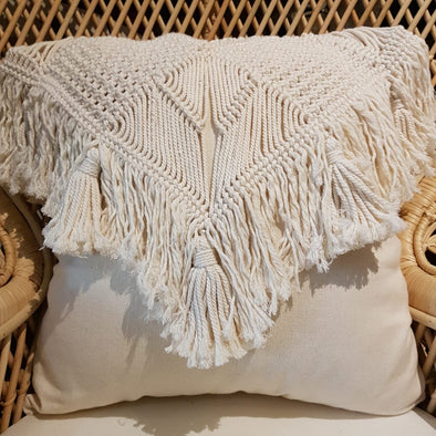 Woven Macrame & Cotton Linen Cushion with Fringe - Canggu & Co
