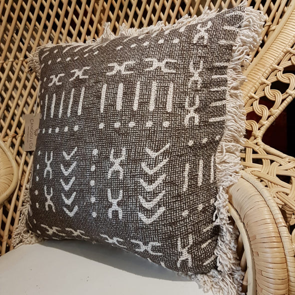 Natural Cotton Cushion With Abstract Motifs And Fringe - Canggu & Co