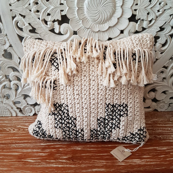 Black and White Woven Macrame Cushion With Fringe - Canggu & Co
