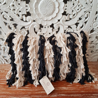 Black and White Hairy Fringe Cushions - Canggu & Co