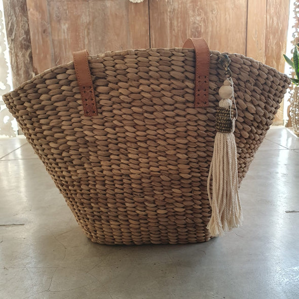 Natural Woven Banana Leaf Bag With Leather Straps - Canggu & Co