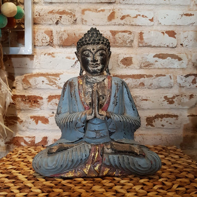Antique Blue & Red Carved Praying Wooden Buddha - Canggu & Co