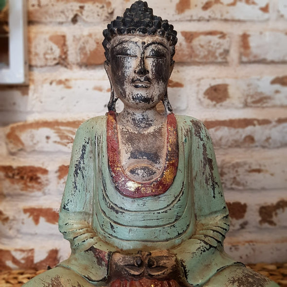 Antique Carved Green & Red Wooden Sitting Buddah - Canggu & Co
