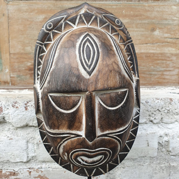 Tribal Motif Wooden Head Masks - Canggu & Co