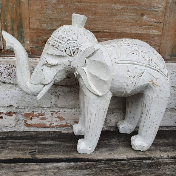 Carved White Washed Wooden Elephant - Canggu & Co