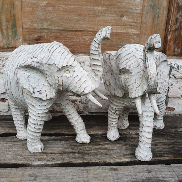 Antique Wooden Carved Elephants - Canggu & Co