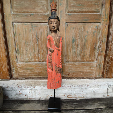 Antique Tall Standing Wooden Buddha - Canggu & Co