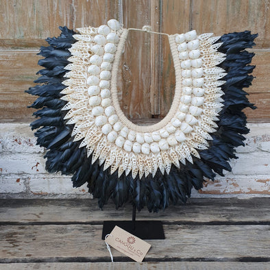 Medium Size Black Or White Feather & Combo Shell Pendant with Stand - Canggu & Co