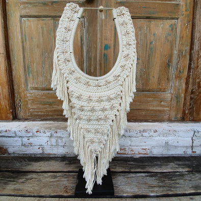 Macrame & Shell Pendant With Fringe And Stand