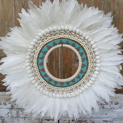 Round White Feather, Beads & Shell Circular Decor With Stand - Canggu & Co