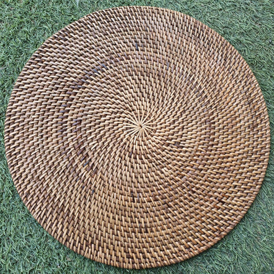 Woven Rattan Black, Brown & White Placemats - Canggu & Co