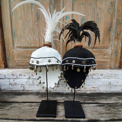 Plumed Feather & Bead Headdress With Stand