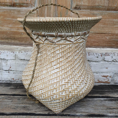 Brown and Whitewash Round Rattan Baskets - Canggu & Co