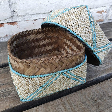 Bead & Shell Bamboo Square Boxes - Canggu & Co