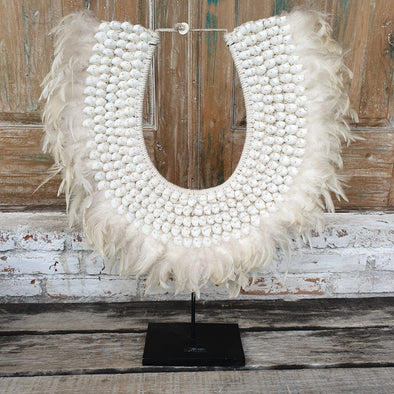 Large Soft Feather & Cowrie Shell Pendant with Stand - Canggu & Co