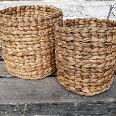 Small Natural Woven Banana Leaf Basket Set