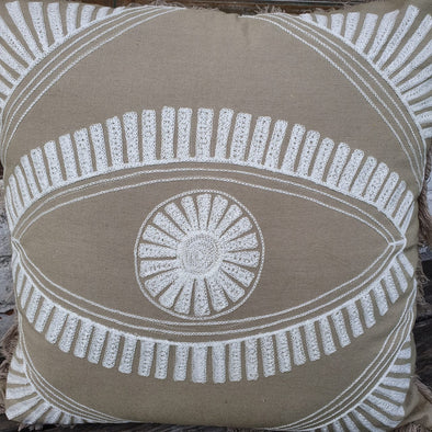 Embroided Motif On Soft Grey Cotton Cushion With Fringe - Canggu & Co