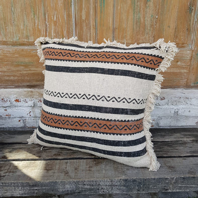 Tribal Pattern Raw Cotton Cushions With Fringe - Canggu & Co