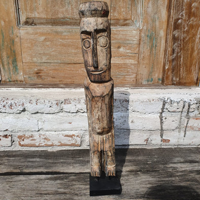 Antique Carved Wooden Tribal Person With Stand - Canggu & Co