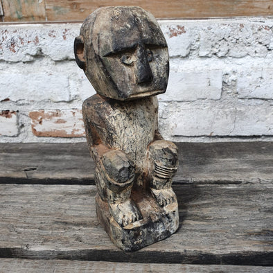 Antique Wooden Ethnic Carved Sitting People Decor - Canggu & Co