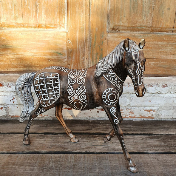 Carved Tribal Wooden Horse Decor - Canggu & Co