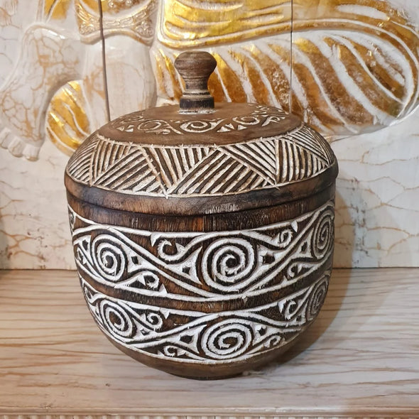 Large Carved Tribal Wooden Bowl With Lid - Canggu & Co