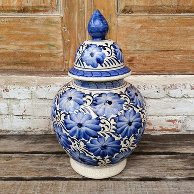 Glazed Blue Pottery Bell Vase With Lid
