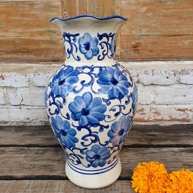 Blue Glazed Ceramic Flower Vase - Canggu & Co