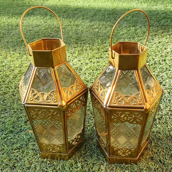 Small Antique Arabic Style Brass Candle Lantern - Canggu & Co