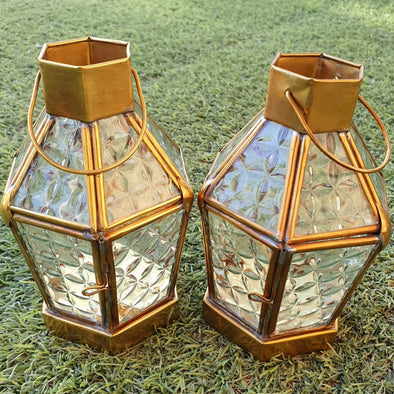 Small Golden Brass Candle Lantern